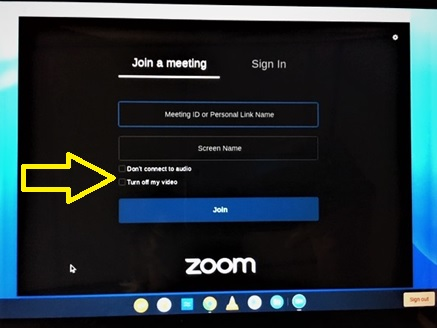 Zoom Join a Meeting screen